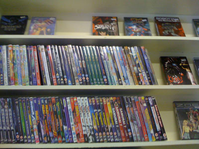An anime collection on the shop shelf.