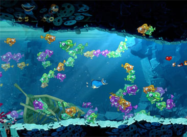 Swimming among the fishes in Rayman Origins.