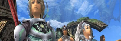 Part of the Xenoblade cast look up in wonder.