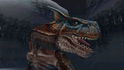 A close up view of Tigrex's head and beady eye.