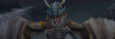 Tigrex spreads his wings and roars.
