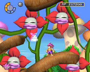 Tombi in purple shorts in the Mushroom Forest.