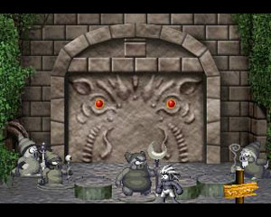 Tombi stands with the statues of the defeated bosses.