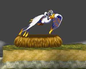Tombi jumps on the back of the phoenix.