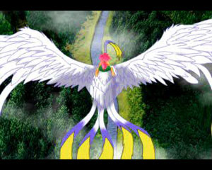 Tombi rides the ancient phoenix in this animated cutscene.