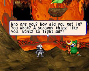 The green evil pig boss taunts Tombi.