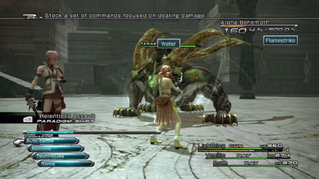 A typical battle screen with Lightning and Vanille fighting a behemoth.