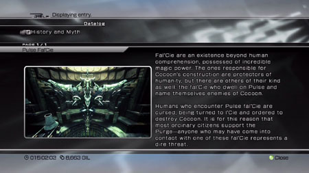 A history review screen detailing the Pulse Fal'Cie.