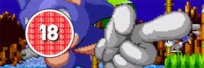 Sonic's face is covered with the red 18 rating.
