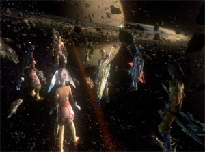 The entire Xenoblade Chronicles cast in space, orbiting just outside Saturn.