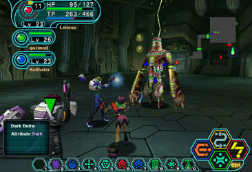 A 3 player game in Phantasy Star Online.