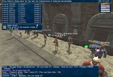 Buying items from the Final Fantasy XI auction house, with added auto translate.